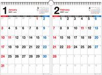 2021年 書き込み式シンプル2ヵ月カレンダー A3【K5】
