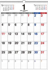 2021年 書き込み式 月曜始まり シンプルカレンダー B3タテ【K12】