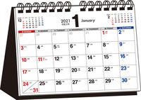2021年 シンプル卓上カレンダー A5ヨコ【T11】
